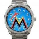 Miami Marlins MLB Baseball Team Logo 6 Unisex Sport Metal Watch