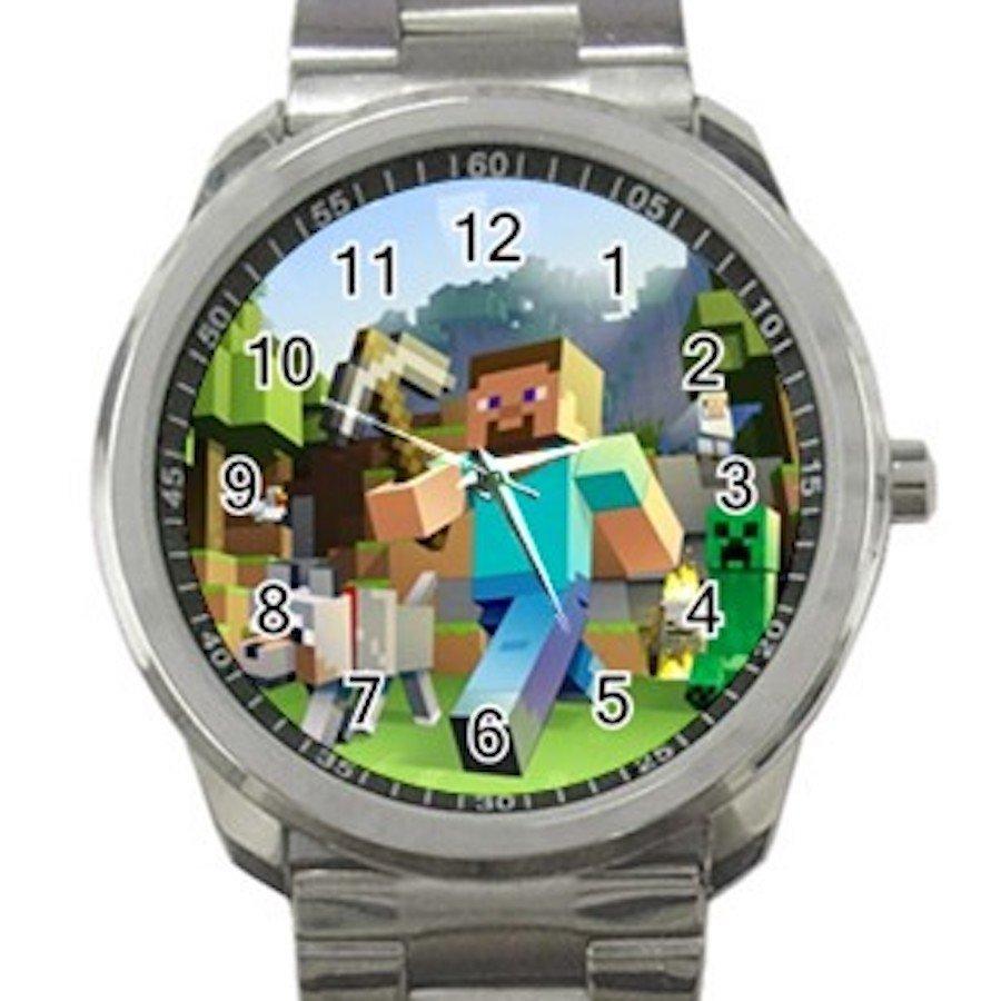 Minecraft Creeper Swords Diamond Steeve Design 5 Unisex Sport Metal Watch