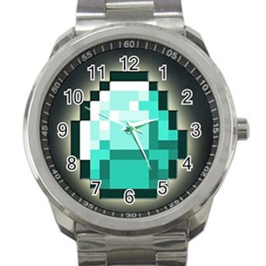 Minecraft Creeper Swords Diamond Steeve Design 10 Unisex Sport Metal Watch