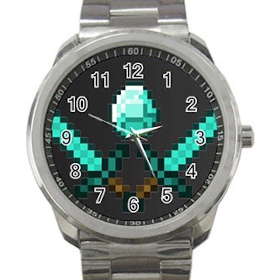 Minecraft Creeper Swords Diamond Steeve Design 20 Unisex Sport Metal Watch