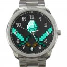 Minecraft Creeper Swords Diamond Steeve Design 20 Unisex Sport Metal Watch