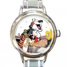 Cute Calvin and Hobbes Collection Round Italian Charm Watch
