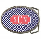 Monogrammed High Quality Metal Chrome Belt Buckle-Mix and Match Patterns and Colors