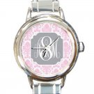 Monogrammed Round Italian Charm Watch-Mix and Match Patterns and Colors