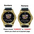 Nice Cadillac Logo Unisex Round Gold Metal Watch