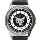 President Donald Trump 2016-2024 Black & White Unisex Round Silver Metal Watch