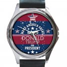 Make America Great Donald Trump For President Unisex Round Silver Metal Watch