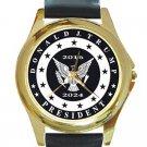 President Donald Trump 2016-2024 Black & White Unisex Round Gold Metal Watch