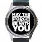 Star Wars - May The Force Be With You - Unisex Round Silver Metal Watch