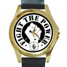 Public Enemy - Fight the Power Unisex Round Gold Metal Watch