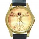 Leonardo da Vinci - Vitruvian Man Unisex Round Gold Metal Watch