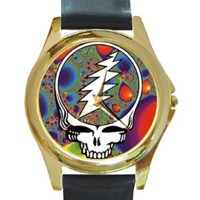Grateful Dead - Steal Your Face - Fractal Unisex Round Gold Metal Watch