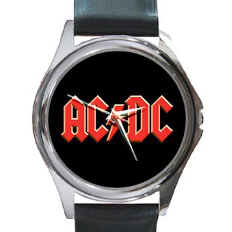AC/DC Unisex Round Silver Metal Watch