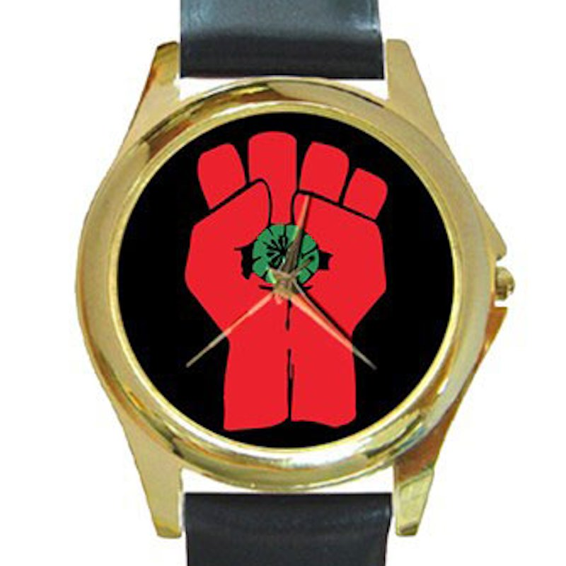 Gonzo Fist - Hunter S. Thompson Unisex Round Gold Metal Watch