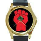 Gonzo Fist - Hunter S. Thompson Unisex Round Gold Metal Watch