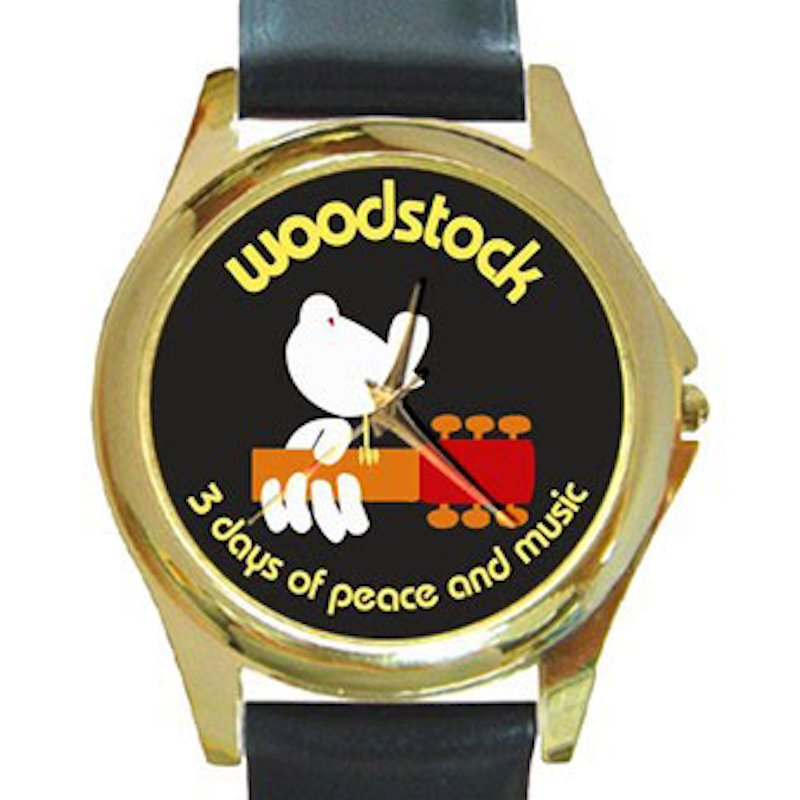 Woodstock - 3 Days of Peace and Music Unisex Round Gold Metal Watch