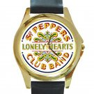 Beatles - Sgt. Pepper's Lonely Hearts Club Band Unisex Round Gold Metal Watch