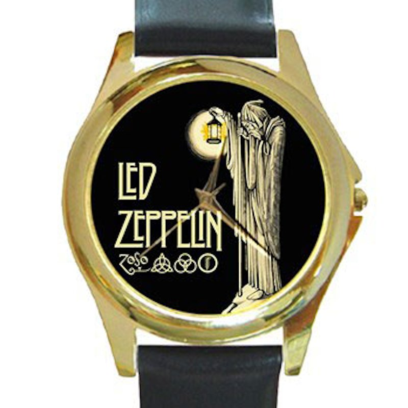 Led Zeppelin IV Symbols - Hermit Unisex Round Gold Metal Watch