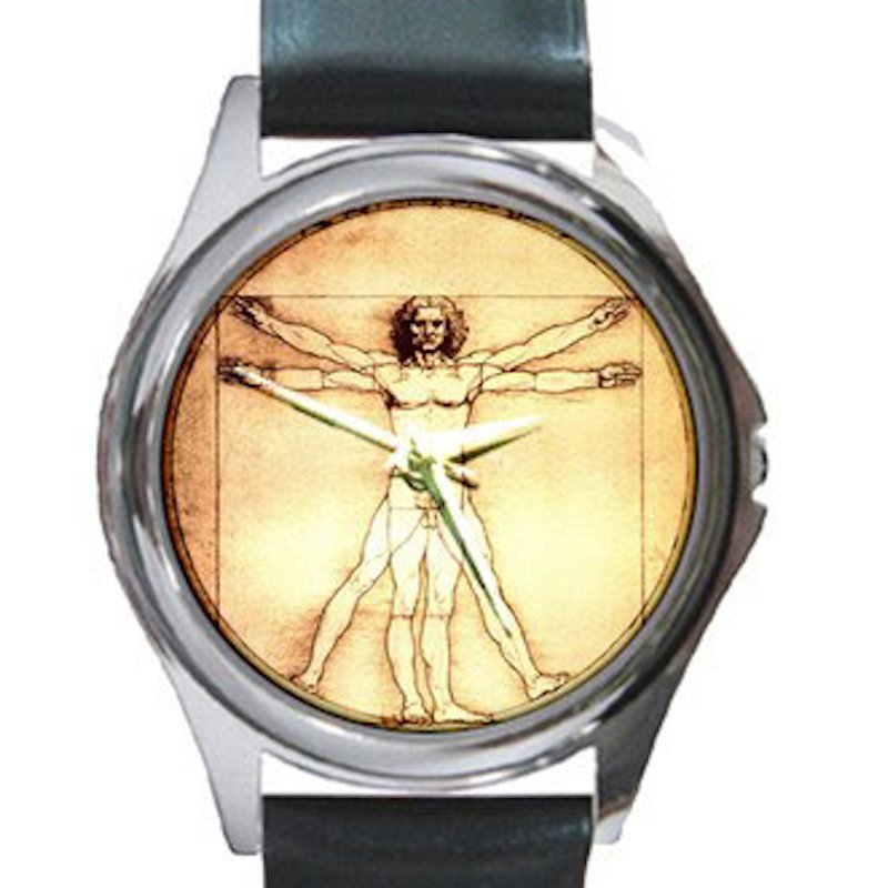 Leonardo da Vinci - Vitruvian Man Unisex Round Silver Metal Watch