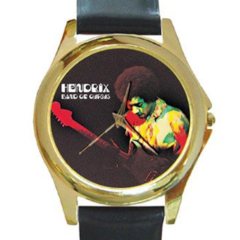 Jimi Hendrix - Band of Gypsys Unisex Round Gold Metal Watch