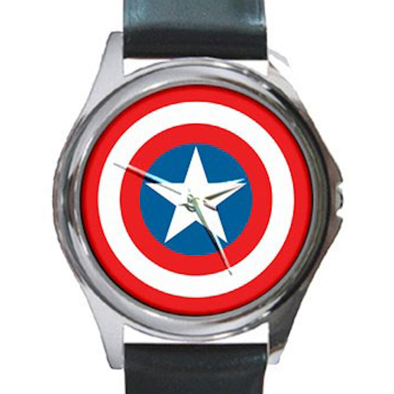 Captain America Shield Unisex Round Silver Metal Watch