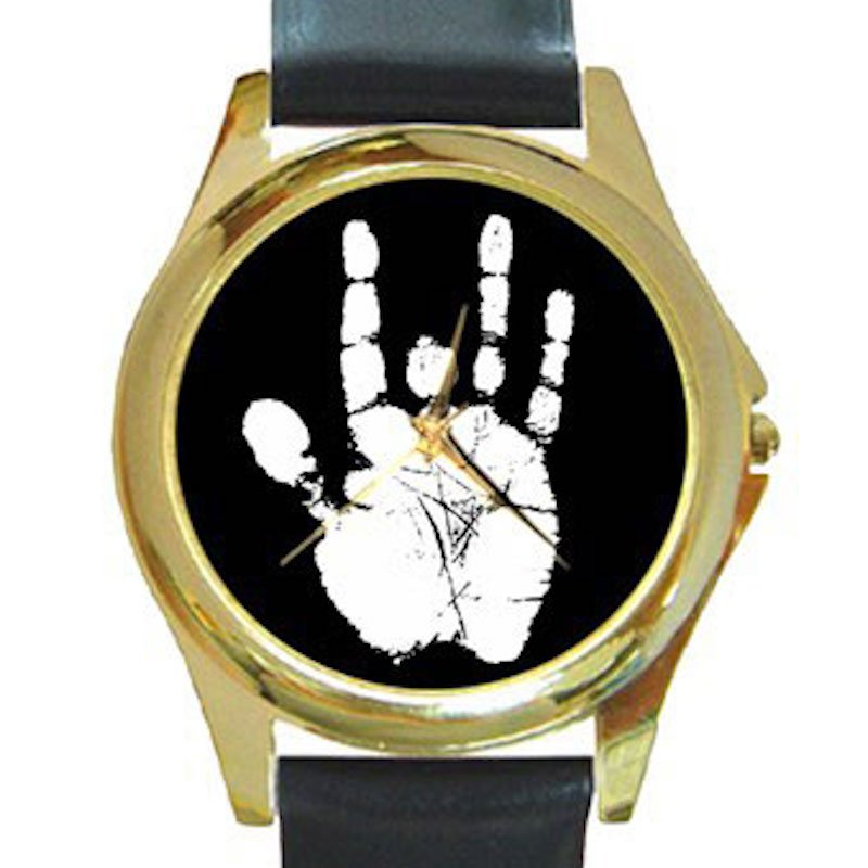 Jerry Garcia Handprint Unisex Round Gold Metal Watch
