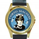 Corto Maltese Unisex Round Gold Metal Watch