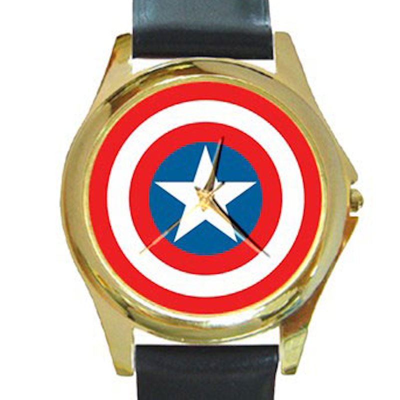 Captain America Shield Unisex Round Gold Metal Watch