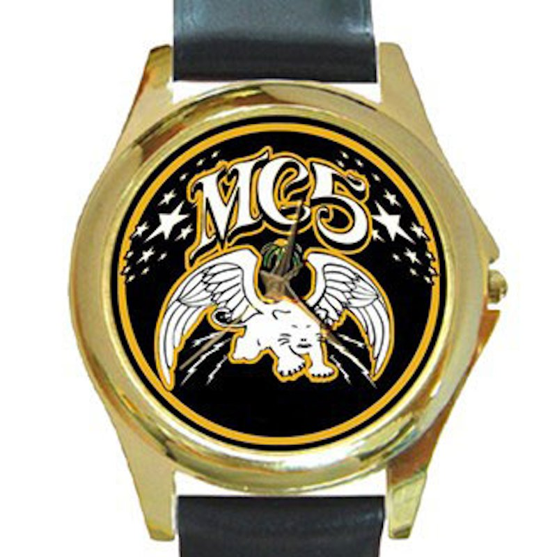 MC5 Rock Band Unisex Round Gold Metal Watch
