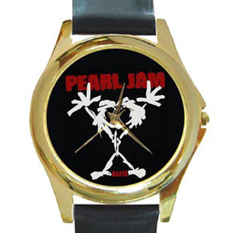 Pearl Jam - Stickman Unisex Round Gold Metal Watch