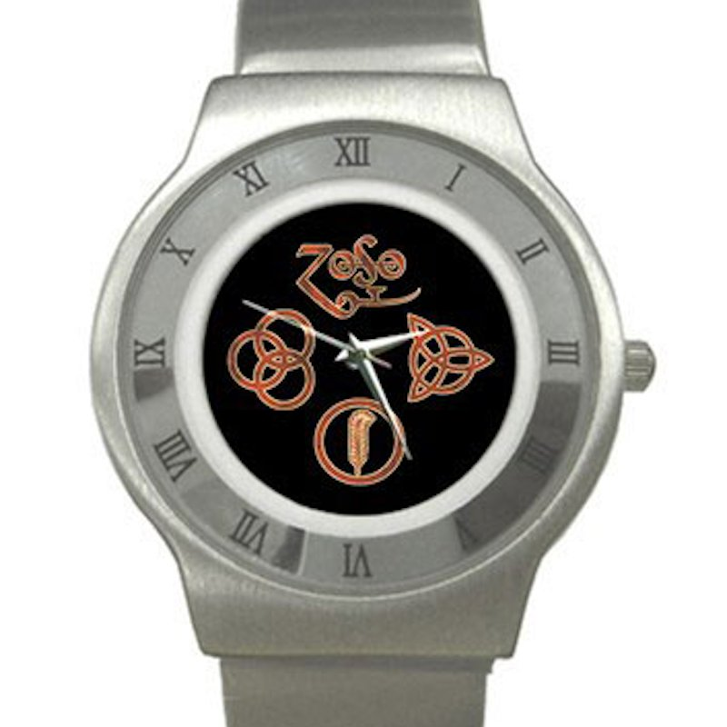 Led Zeppelin Symbols Chrome Roman Dial Unisex Ultra Slim Watch
