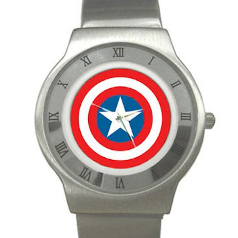 Captain America Shield Chrome Roman Dial Unisex Ultra Slim Watch