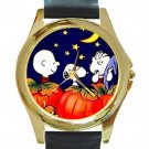 SNOOPY CHARLIE BROWN LINUS HALLOWEEN Unisex Round Gold Metal Watch