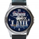 New England Patriots Super Bowl 6 Times Champions Unisex Round Silver Metal Watch