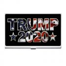 President Trump 2020 US Flag Decor Silver Plated Business Card/ Credit Cards Holder