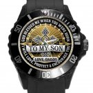 To My Son From Dad Black Round Plastic Sport Watch With Gold Face
