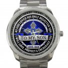To My Son From Dad Unisex Sport Metal Watch-Blue Face