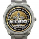 To My Son From Dad Unisex Sport Metal Watch-Gold Face