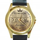 To My Son Never Forget That I Love You Forever Unisex Round Gold Metal Watch