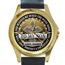 To My Son Love From Daddy Unisex Round Gold Metal Watch