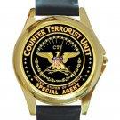 Counter Terrorist Unit Special Agent CTU Logo Unisex Round Gold Metal Watch