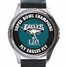 Philadelphia Eagles Super Bowl Fly Eagles Fly Watch Unisex Round Silver Metal Watch
