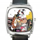 Calvin and Hobbes Best Of Friends Square Metal Watch With Leather Band