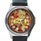 Lion King In Stained Glass Design Unisex Round Silver Metal Watch