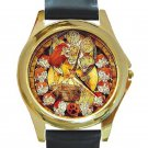 Lion King Beautiful Stained Glass Design Unisex Round Gold Metal Watch