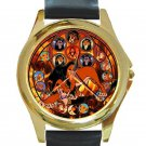 Lion King Movie Evil Scar Beautiful Stained Glass Design Unisex Round Gold Metal Watch