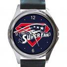 New England Patriots Super Fan Unisex Round Silver Metal Watch