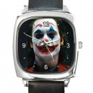 Joaquin Phoenix As Joker 2019 Square Metal Watch With Leather Band