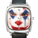 Joker's Face 2019 Movie Square Metal Watch With Leather Band