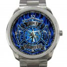 Firefighter In Blue Flame Unisex Sport Metal Watch